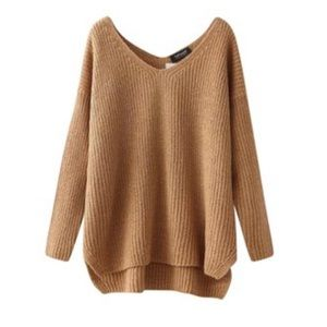 [Topshop] Tan V Neck Sweater Size 2